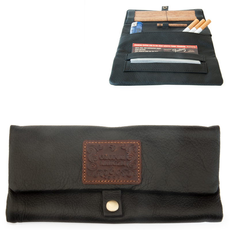 Leather Rolling Pouch (Kavatza) Classic (Smooth Black)