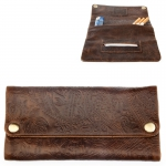 Leather Tobacco Pouch (Kavatza) Ethnic (Embossed Brown)